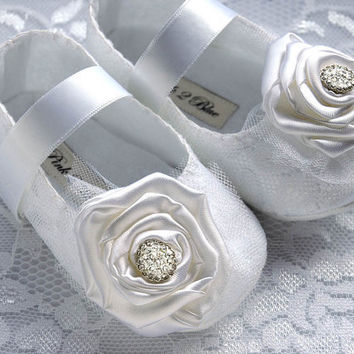 Victoria Baby Girl Shoes, Wedding, Flower Girl, Christening, Slipper, Bootie, Infant, Handmade by Pink2Blue.