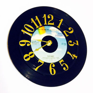 Vinyl Record Clock, Record Clock, Wall Clock, Tiffany Record, Recycled Record, Upcycle, Battery & Wall Hanger included, Item #34