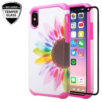 Apple iPhone XS Max Case, Apple A1921,[Include Temper Glass Screen Protector] Slim Hybrid Dual Layer [Shock Resistant] Case for iPhone XS Max - Vivid Sunflower