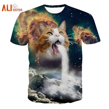 Solar Kitten T-Shirt Cat Vomiting A Waterfall Onto Earth Vibrant 3d Cat Tee Shirt Galaxy Nebula Space T Shirt Tops For Women Men