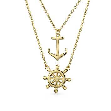 Anchor Two Layering Pendant Necklace 14K Gold Plated Sterling Silver
