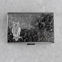 Cigarette Case Owl Metal Wallet Card Holder Large Size Vintage Style Silver Plated Gothic Victorian Steampunk Holds 18 100's