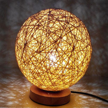 220v EU plug table lamp Rattan Ball design Takraw night light for  Bedroom Bedside living room indoor lighting