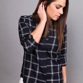 Gridlock Plaid Tunic in Navy