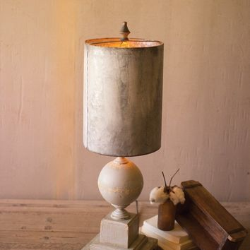 Table Lamp - Wood & Metal Base With Tall Metal Shade