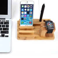 SmartBB(TM)Inartificial 3 in 1 Creative Bamboo Wood Charge Station Mount Stand Holder for iPhone iPad Apple Watch