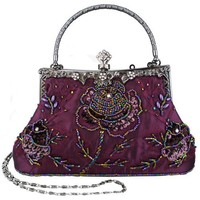MG Collection Exquisite Antique Seed Beaded Rose Evening Clutch Handbag