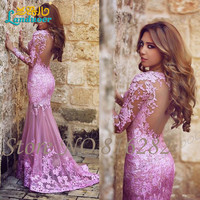 Said Mhamad Mermaid Tulle Applique Lace Plum Prom Dresses Sweetheart Formal Party Evening Dresses Backless Elegant Lady Dress