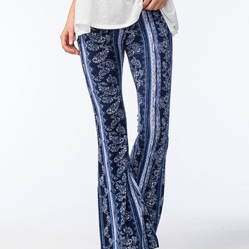 Full Tilt Paisley Womens Flared Pants Navy  In Sizes