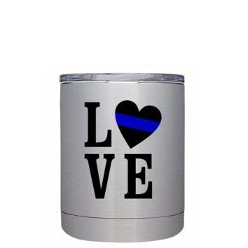 Police Love 10 oz Lowball Stainless Steel Tumbler with Lid - Police Officer Law Enforcement Gift