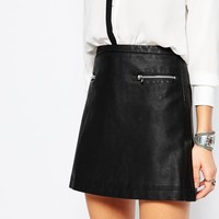 Mango Leather Look Zip Detail Mini Skirt