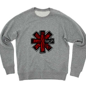red hot chili peppers sweater Gray Sweatshirt Crewneck Men or Women for Unisex Size with variant colour