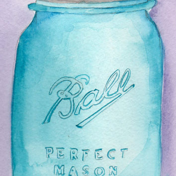 Ball Mason Jar Watercolor Painting, Kitchen Art, Vintage Antique Painting