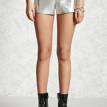 Metallic Faux Leather Shorts