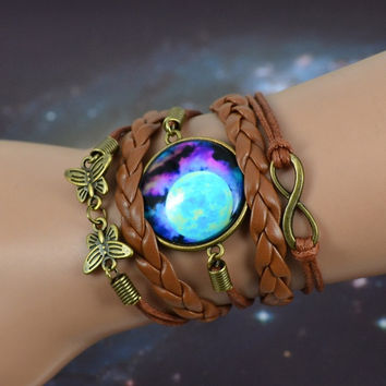 sky Blue Mysterious Planet & universe picture glass cabochon charm,bronze color infinity butterfly charm,brown leather bracelet = 1931946820