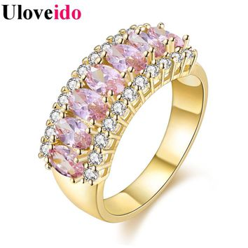 Pink Gold Color Rings for Women Cubic Zirconia Marriage Engagement Jewelry Wedding Ring with a Blue Stone Bijoux Femme J501