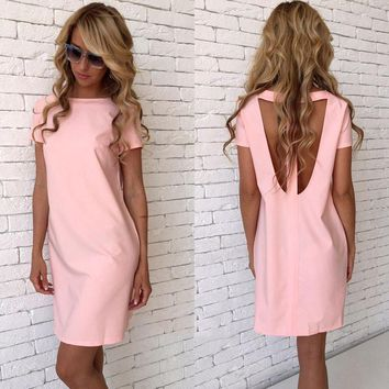 Svymrl 2017 Hot Sale Women Summer Sexy Backless Pink Blue Dress Bodycon O-Neck Short Sleeve Beach Casual Loose Straight Dress