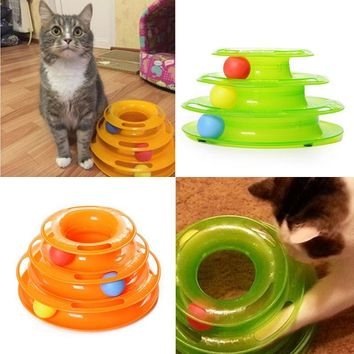 Three Levels Tower Tracks Disc Cat Pet Toy Intelligence Amusement Rides Shelf