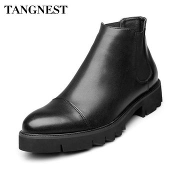 Tangnest Men's Thick Soled Leather Slip-On Chelsea Boots