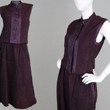 Vintage 80s LOUIS FERAUD Suede Two Piece Dark Purple Suede Skirt Suit Leather Trim Suede Midi Skirt Sleeveless Jacket French Designer 1980s