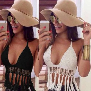 Factory Price! Women Sexy Deep V-neck Crochet Knit Crop Top Halter Bra Bralette Summer Blouse