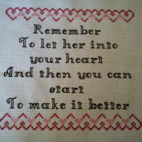 Hey Jude - completed cross stitch song lyrics
