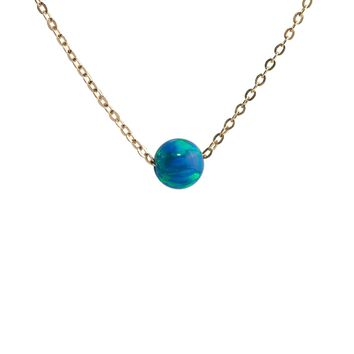 Ocean Green Blue Opal Bead Necklace