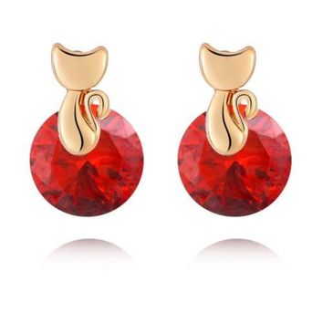 Small Cat Ear Studs    gold plated red zircon