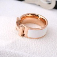 ONETOW Hermes Women Fashion Logo Titanium Steel Plated Ring Jewelry