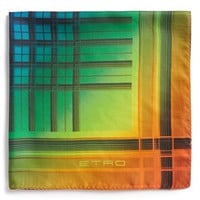 Men's Etro Geometric Print Silk Pocket Square - Blue