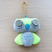 Felt Keychain -  Valentine Gift-  cute accessories -  Kawaii -  Neon owl plush - READY TO SHIP