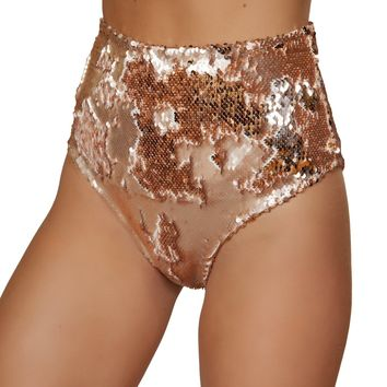Rose Gold High Waisted Sequin Shorts