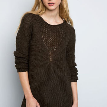 Olive Knit Sweater Top