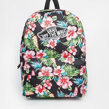 Vans Realm Backpack in Black Hawaiian Print
