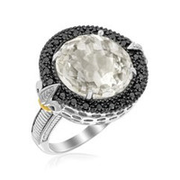 Round Rock Crystal and Black Diamonds Fleur De Lis Ring