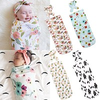 pudcoco est s Infant born Toddler Baby Swaddle Blanket Baby Sleeping Swaddle Muslin Wrap Headband Lucky Child