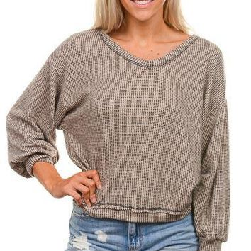 Taupe Checkered Balloon Sleeve Top