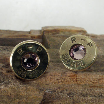 Bullet Earrings June Birthstone Ultra Thin by ShellsNStuff