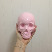 HELPSY Pink Skull Piggy Bank / handpainted, profits to Planned Parenthood