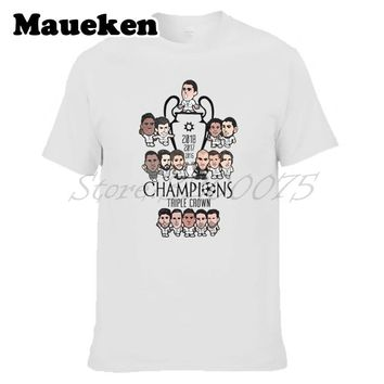 Men 2018 Cartoon Crossword Triple Crown Ronaldo Bale Real final 13 champions hala madrid Kroos Modric Zidane T-shirt W18052698