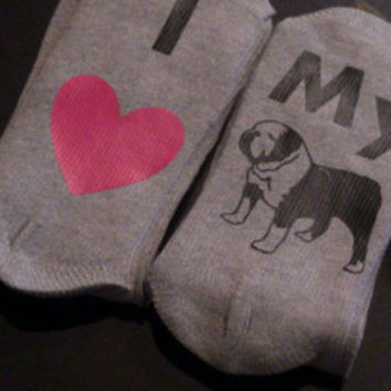 I love my bulldog socks - bulldog socks - dog lover gift - bulldog owner gift - stocker stuffer for her - bulldog gift