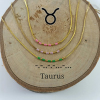 TAURUS Morse Code necklace, CUSTOM morse code, Secret Message, Dainty necklace, Personalized, Morse code jewelry, Birth necklace, aunt Gift