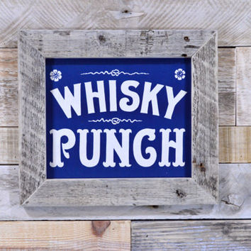 Vintage Whisky Punch Sign, Antique Bar Decor, Rustic Kitchen Art, General Store Sign