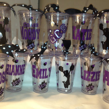 Cheerleading Personalized Tumbler 16 oz w/Straw BPA Free Cheer, Dance, Zebra, Favors