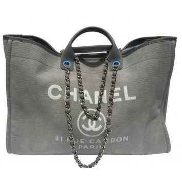Chanel Deauville XL Grey Tote Bag Extra Large Classic Beach Cabas