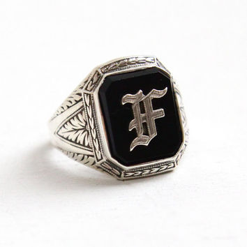Vintage Sterling Silver Simulated Onyx Art Deco Letter F or A Signet Ring - Size 6 1/2 Monogrammed Initial 1920s Black Glass Stone Jewelry