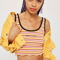 'Keep It Cute' Slogan Cropped Vest by New Girl Order | Topshop