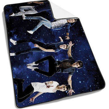 Galaxy Nebula with flay One Direction Blanket