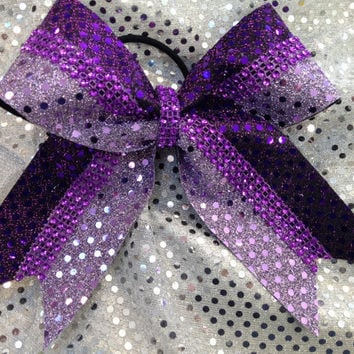 3 Colors of Purple Rhinestone Sequin Cheer Cheerleading Dance Ribbon Bow