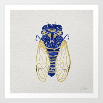 Cicada – Navy & Gold Art Print by Cat Coquillette